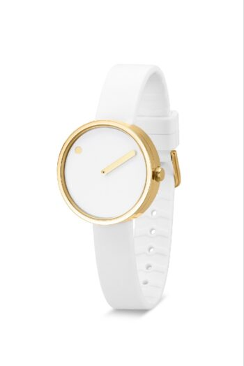 WATCH PICTO/43320-0212G/30mm/WHITE DIAL-POLISHED GOLD CASE/ WHITE SILICONE STRAP