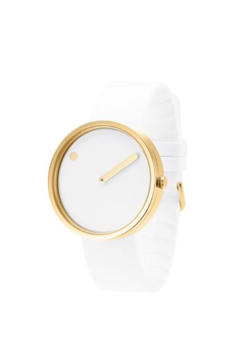 WATCH PICTO/43321-0220G/40mm/WHITE DIAL-POLISHED GOLD CASE/ WHITE SILICONE STRAP