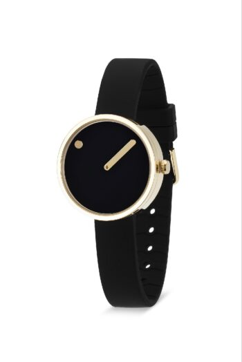 WATCH PICTO/43385-0112G/30mm/BLACK DIAL-POLISHED GOLD CASE/BLACK SILICONE STRAP