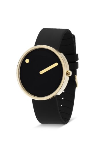 WATCH PICTO/43387-0120G/40mm/BLACK DIAL-POLISHED GOLD CASE/BLACK SILICONE STRAP