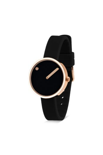 WATCH PICTO/43311-0112R/30mm/BLACK DIAL-POLISHED ROSE GOLD CASEL/ BLACK SILICONE STRAP