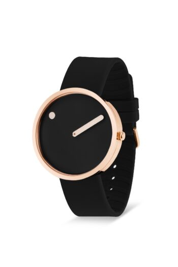 WATCH PICTO/43312-0120R/40mm/BLACK DIAL-POLISHED ROSE GOLD CASE/BLACK SILICONE STRAP