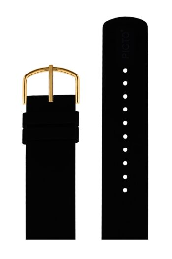ΜΠΡΑΣΕΛΕ PICTO/0120G/40mm/BLACK SILICONE STRAP-POLISHED GOLD BUCKLE/WIDTH 20mm