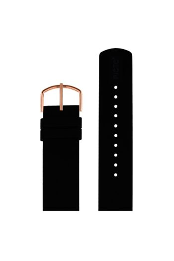 ΜΠΡΑΣΕΛΕ PICTO/0120R/40mm/BLACK SILICONE STRAP-POLISHED ROSE GOLD BUCKLE/WIDTH 20mm