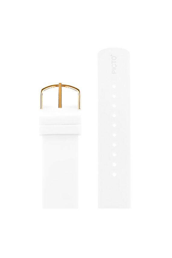 ΜΠΡΑΣΕΛΕ PICTO/0220R/40mm/WHITE SILICONE STRAP-POLISHED ROSE GOLD ΒUCKLE/ WIDTH 20mm
