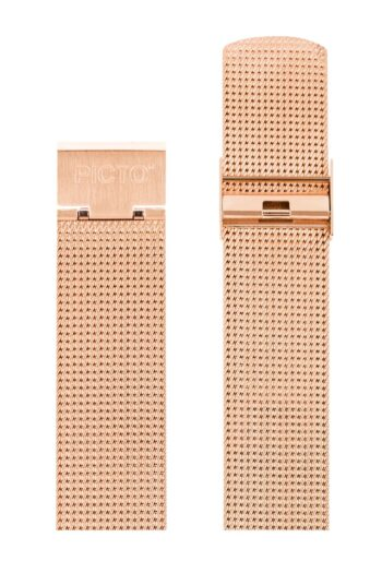 ΜΠΡΑΣΕΛΕ PICTO/1120/40mm/MATT IP ROSE GOLD STEEL MESH BAND/WIDTH 20mm