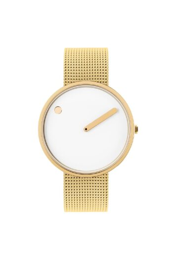 WATCH PICTO/43321-0920/40mm/WHITE DIAL- POLISHED GOLD CASE/GOLD MESH BAND