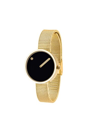 WATCH PICTO/43385-0912/30mm/BLACK DIAL- POLISHED GOLD CASE/GOLD MESH BAND