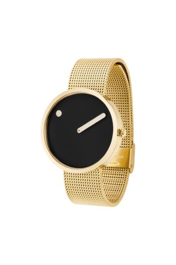WATCH PICTO/43387-0920/40mm/BLACK DIAL- POLISHED GOLD CASE/GOLD MESH BAND