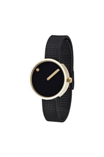 WATCH PICTO/43385-1012/30mm/BLACK DIAL- POLISHED GOLD CASE/BLACK MESH BAND