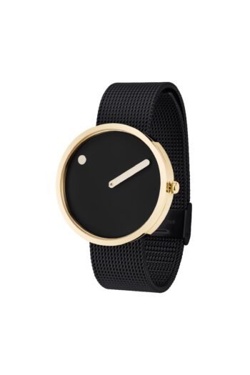 WATCH PICTO/43387-1020/40mm/BLACK DIAL- POLISHED GOLD CASE/BLACK MESH BAND