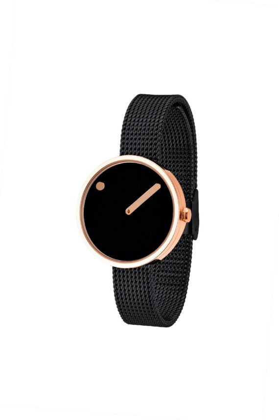 WATCH PICTO/43311-1012/30mm/BLACK DIAL-ROSE GOLD CASE/BLACK MESH BAND