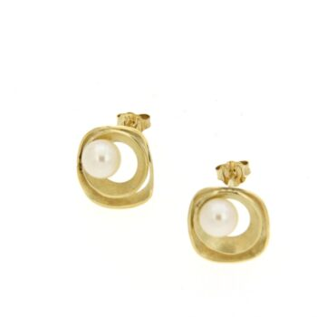 EARRING/AMC/1 SQUARE & 1 ROUND SATINE-WH PRL 6-6.5mm