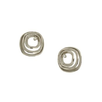 EARRING/AMC/3 SQUARE SATINE-BR 0.02ct
