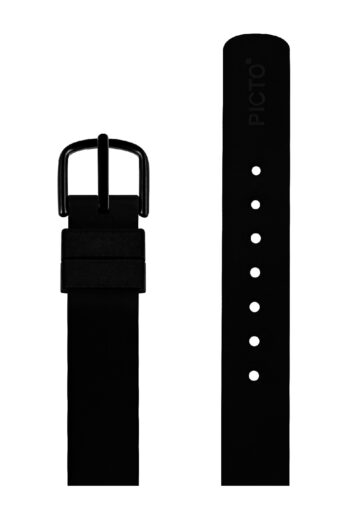 ΜΠΡΑΣΕΛΕ PICTO/0112B/30mm/BLACK SILICONE STRAP-POLISHED BLACK BUCKLE/WIDTH 12mm