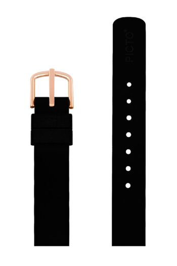 ΜΠΡΑΣΕΛΕ PICTO/0112R/30mm/BLACK SILICONE STRAP-POLISHED ROSE GOLD BUCKLE/WIDTH 12mm