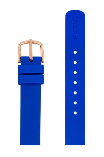 ΜΠΡΑΣΕΛΕ PICTO/0412R/30mm/BLUE SILICONE STRAP-POLISHED ROSE GOLD BUCKLE/WIDTH 12mm