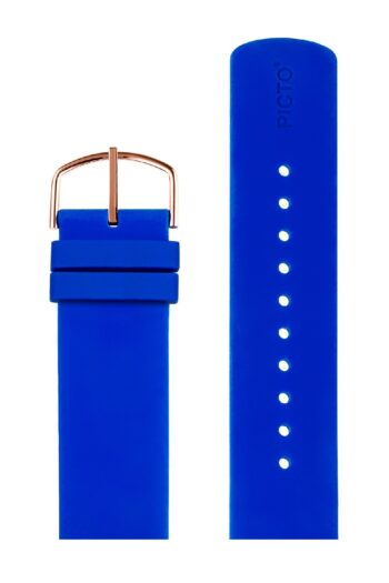 ΜΠΡΑΣΕΛΕ PICTO/0420R/40mm/BLUE SILICONE STRAP-POLISHED ROSE GOLD UCKLE/WIDTH 20mm