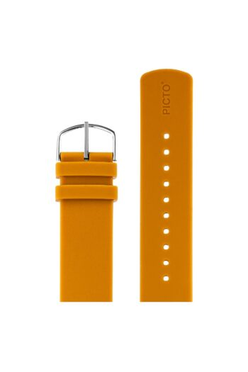 ΜΠΡΑΣΕΛΕ PICTO/0720S/40mm/MUSTARD SILICONE STRAP-POLISHED STEEL BUCKLE/WIDTH 20mm