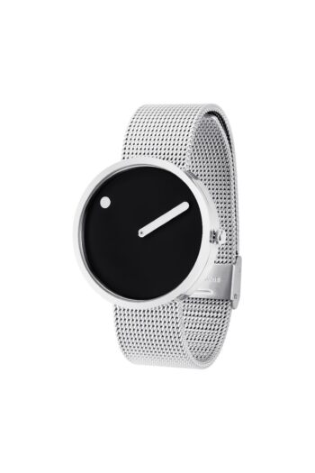 WATCH PICTO/43370-0820/40mm/BLACK DIAL POLISHED STEEL CASE/STEEL MESH BAND