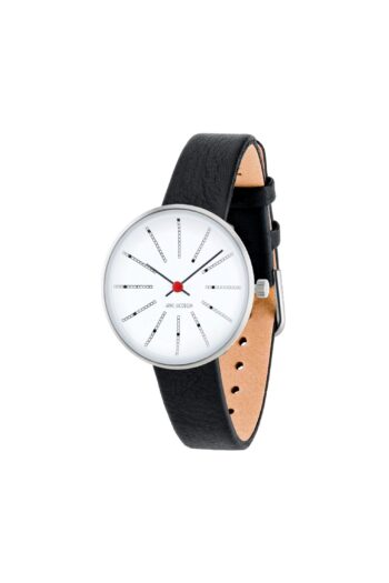 WATCH AJ/BANKERS/53100-1401/30mm/WHITE DIAL- POLISHED STEEL CASE/BLACK LEATHER STRAP