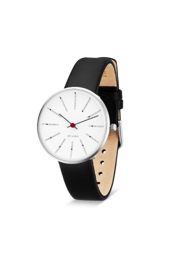 WATCH AJ/BANKERS/53101-1601/34mm/WHITE DIAL- POLISHED STEEL CASE/BLACK LEATHER STRAP