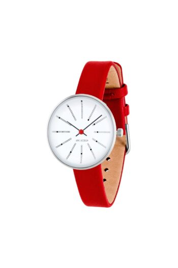 WATCH AJ/BANKERS/53100-1403/30mm/WHITE DIAL- POLISHED STEEL CASE/RED LEATHER STRAP