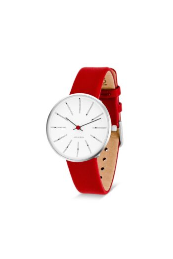 WATCH AJ/BANKERS/53101-1603/34mm/WHITE DIAL- POLISHED STEEL CASE/RED LEATHER STRAP