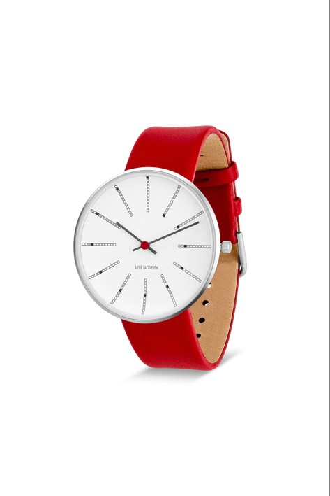 WATCH AJ/BANKERS/53102-2003/40mm/WHITE DIAL- POLISHED STEEL CASE/RED LEATHER STRAP