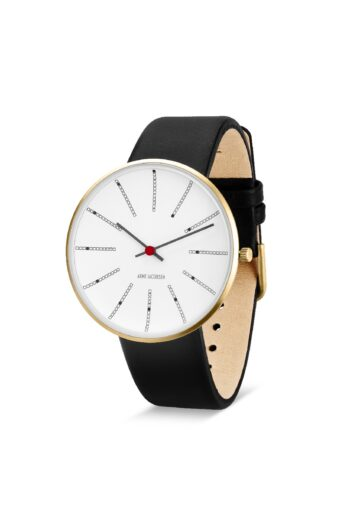 WATCH AJ/BANKERS/53108-2001G/40mm/WHITE DIAL- POLISHED IP GOLD CASE/BLACK LEATHER STRAP