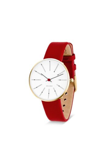 WATCH AJ/BANKERS/53107-1603G/34mm/WHITE DIAL- POLISHED IP GOLD CASE/RED LEATHER STRAP