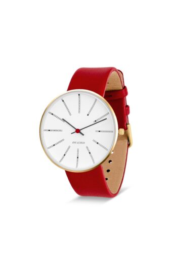 WATCH AJ/BANKERS/53108-2003G/40mm/WHITE DIAL- POLISHED IP GOLD CASE/RED LEATHER STRAP