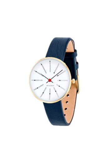 WATCH AJ/BANKERS/53113-1404G/30mm/WHITE DIAL- POLISHED IP GOLD CASE/NAVY BLUE LEATHER STRAP