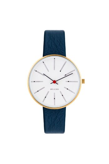 WATCH AJ/BANKERS/53107-1604G/34mm/WHITE DIAL- POLISHED IP GOLD CASE/NAVY BLUE LEATHER STRAP
