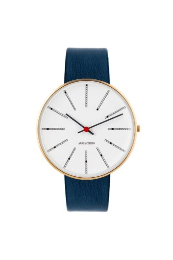 WATCH AJ/BANKERS/53108-2004G/40mm/WHITE DIAL- POLISHED IP GOLD CASE/NAVY BLUE LEATHER STRAP