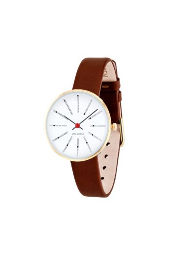 WATCH AJ/BANKERS/53113-1407G/30mm/WHITE DIAL- POLISHED IP GOLD CASE/BROWN LEATHER STRAP