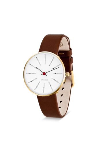 WATCH AJ/BANKERS/53107-1607G/34mm/WHITE DIAL- POLISHED IP GOLD CASE/BROWN LEATHER STRAP