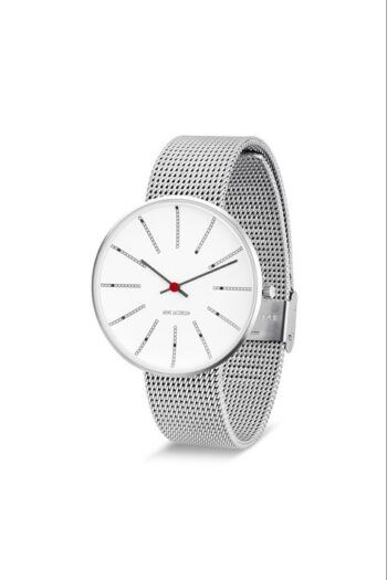 WATCH AJ/BANKERS/53102-2008/40mm/WHITE DIAL- STAINLESS STEEL CASE/STEEL MESH BAND