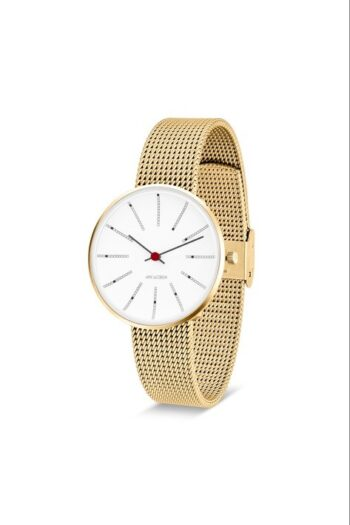 WATCH AJ/BANKERS/53107-1609/34mm/WHITE DIAL-IP GOLD BRUSHED CASE/GOLD BRUSHED MESH BAND
