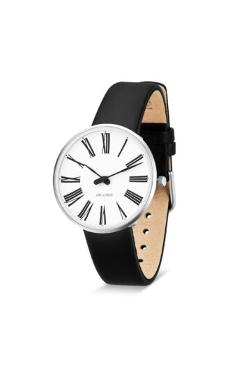 WATCH AJ/ROMAN/53301-1601/34mm/WHITE DIAL- STAINLESS STEEL CASE/BLACK LEATHER STRAP