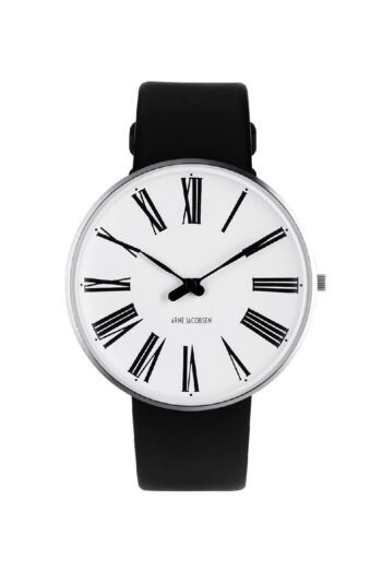 WATCH AJ/ROMAN/53302-2001/40mm/WHITE DIAL- STAINLESS STEEL CASE/BLACK LEATHER STRAP