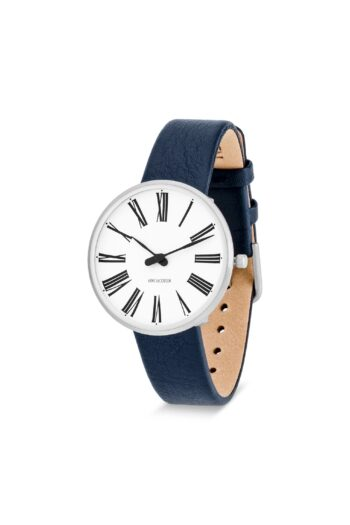 WATCH AJ/ROMAN/53301-1604/34mm/WHITE DIAL- STAINLESS STEEL CASE/NAVY BLUE LEATHER STRAP