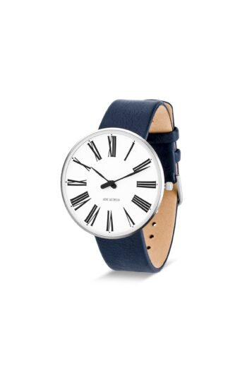 WATCH AJ/ROMAN/53302-2004/40mm/WHITE DIAL- STAINLESS STEEL CASE/NAVY BLUE LEATHER STRAP