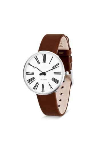 WATCH AJ/ROMAN/53301-1607/34mm/WHITE DIAL- STAINLESS STEEL CASE/BROWN LEATHER STRAP