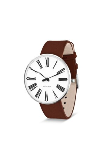 WATCH AJ/ROMAN/53302-2007/40mm/WHITE DIAL- STAINLESS STEEL CASE/BROWN LEATHER STRAP