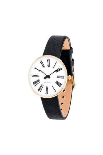 WATCH AJ/ROMAN/53313-1401G/30mm/WHITE DIAL-IP GOLD BRUSHED CASE/BLACK LEATHER STRAP