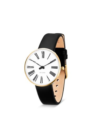 WATCH AJ/ROMAN/53307-1601G/34mm/WHITE DIAL-IP GOLD BRUSHED CASE/BLACK LEATHER STRAP