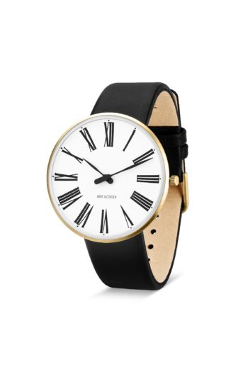 WATCH AJ/ROMAN/53308-2001G/40mm/WHITE DIAL-IP GOLD BRUSHED CASE/BLACK LEATHER STRAP