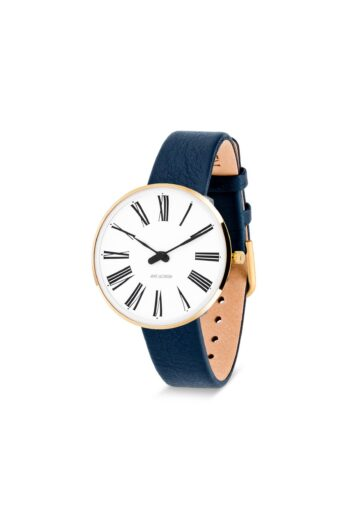 WATCH AJ/ROMAN/53307-1604G/34mm/WHITE DIAL-IP GOLD BRUSHED CASE/NAVY BLUE LEATHER STRAP