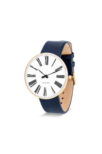 WATCH AJ/ROMAN/53308-2004G/40mm/WHITE DIAL-IP GOLD BRUSHED CASE/NAVY BLUE LEATHER STRAP